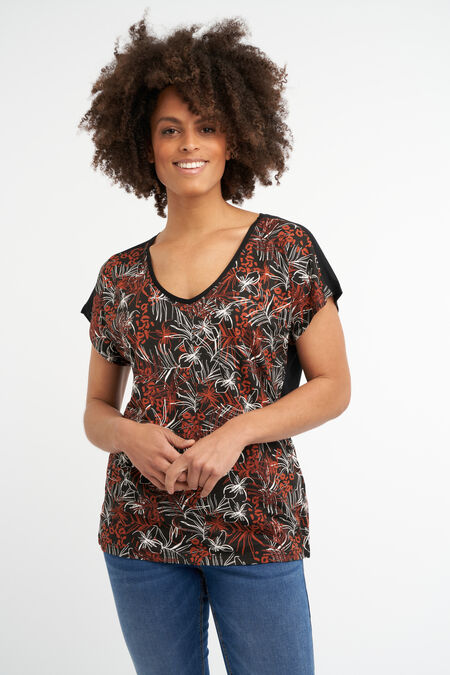 T-Shirt mit floralem Folien-Print