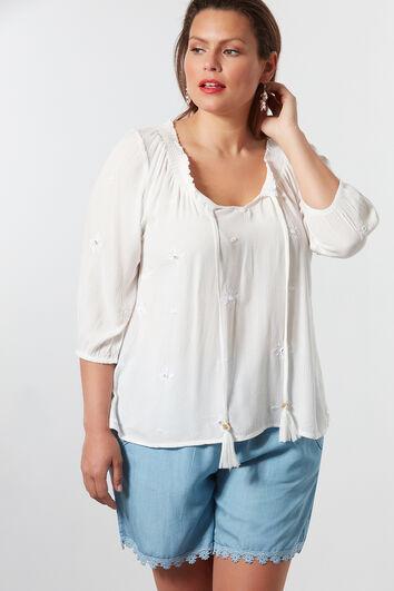 Bluse mit gesmoktem Ausschnitt