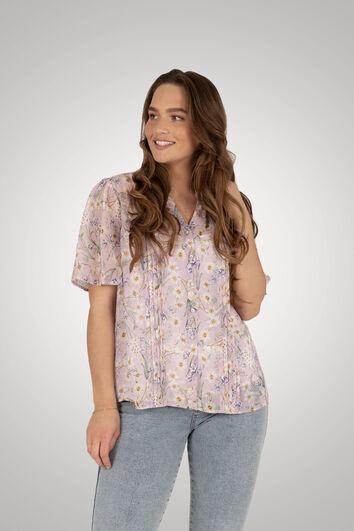 Bluse mit floralem Print und Lurex-Details
