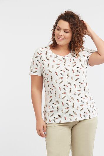 T-Shirt mit durchgehendem Feder-Print