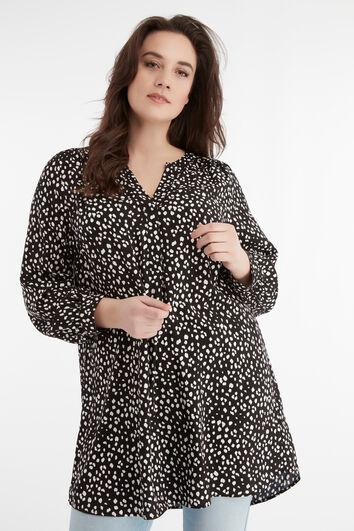 Tunika-Bluse mit Punktdruck