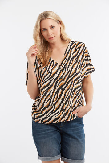 Bluse im Boxy-Style mit Animal-Print