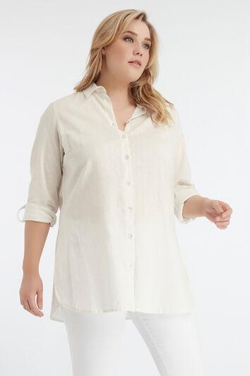 Lange einfarbige Bluse