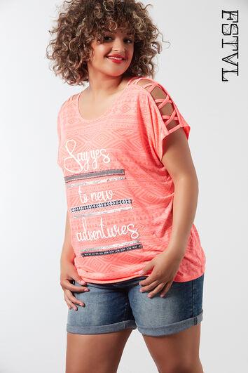 T-Shirt mit raffinierten Schulter-Details