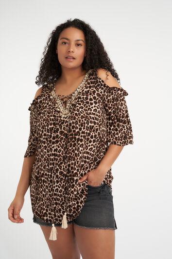 Schulterfreie Bluse mit Leopard-Print
