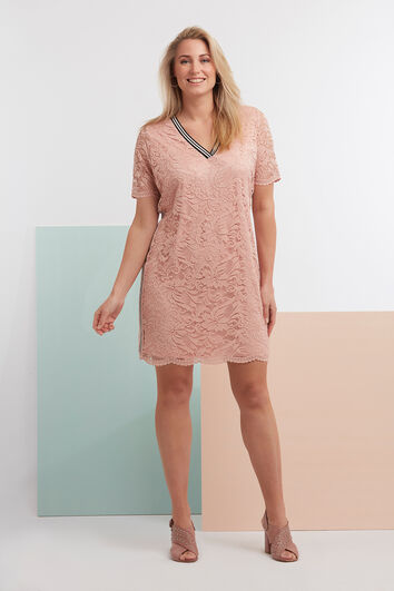 Spitzen-Kleid mit sportiver Borte