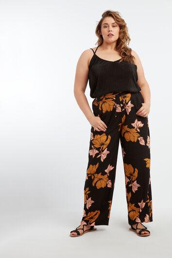 Hose mit weitem Bein und Blumenmotiv