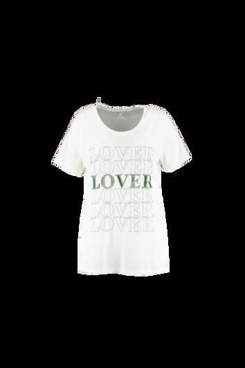 T-Shirt mit Text-Print und Perlen