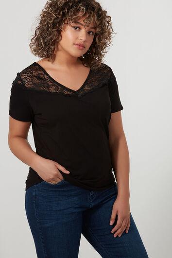 T-Shirt mit V-Ausschnitt und Spitzen