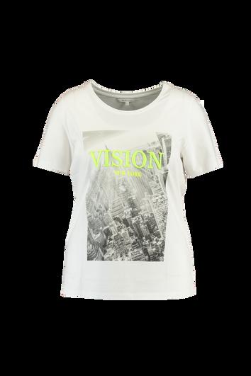 T-Shirt mit Print und Stickerei