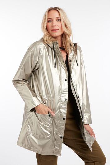 Regenmantel in Metallic-Silber
