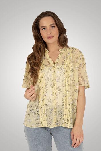 Bluse mit floralem Print und Lurex-Streifen