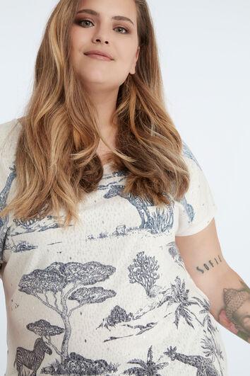 Blau-weißes T-Shirt im Safari-Stil
