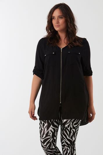 Schlichte Bluse mit Reißverschluss
