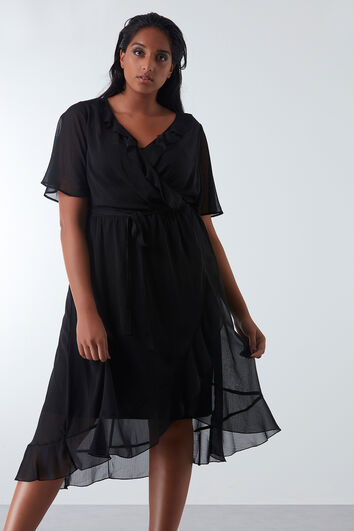 Wickel-Kleid mit Rüschen