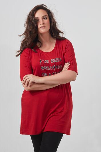 Langes T-Shirt mit Schriftzug und Schnürung