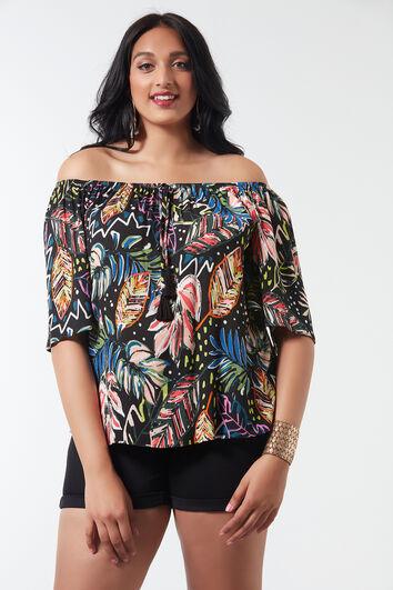 Bluse mit weitem Ausschnitt und Allover-Print